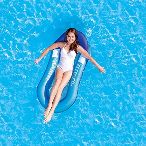 5665 Piscina De Flotación, Hamaca Flotante De Agua, Salón De Piscina con Reposacabezas, Cama Flotante Inflable De La Piscina del Flotador De La Piscina Inflable,Blue