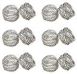 SKAVIJ Napkin Rings Set of 12 for New Year, Dinner Parties, Holidays, Dining Table Decoration Handmade Metal Napkin Holder Silver