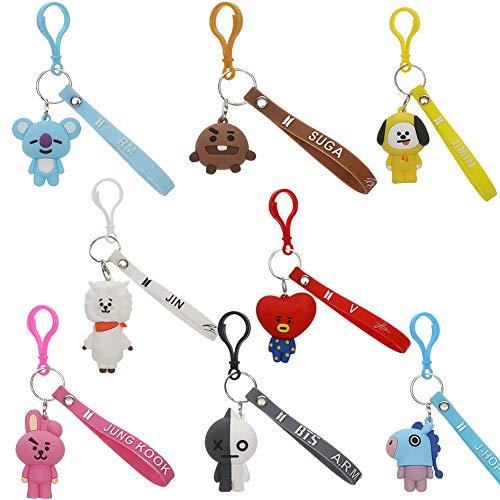 8PCS Schlüsselanhänger Ring, 3D Schlüsselanhänger, Cartoon Schlüsselanhänger, Zubehör