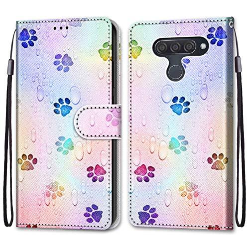 Mikikit Mode 3D bemalte Ledertasche handyhülle für LG Q60/ LG K50, Paw Print Case Flip Cover mit Magnetverschluss Clamshell Schutzhülle Ständer Kartenhalter Leder Brieftasche hülle für LG K50/ LG Q60