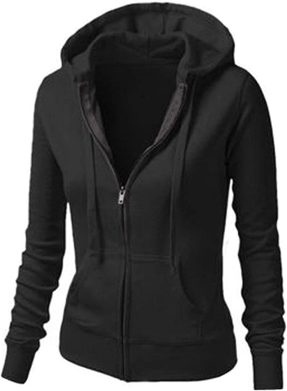 Reokoou Womens Zip-up Hoodie Comfortable Long Sleeve Sweatshirt Solid Color Lightweight Slim Coat with Kanga Pocket
