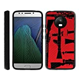 TurtleArmor   Compatible with Motorola Moto E4 Case   Moto E 4th Gen Case   XT1768   Slim Hybrid Engraved Grooves Hard Shell TPU Dual Layer Case - Guns and Missiles