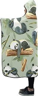 Jnseff Hooded Blanket Watercolor Pattern Panda Leaves Blanket 60x50 Inch Comfotable Hooded Throw Wrap
