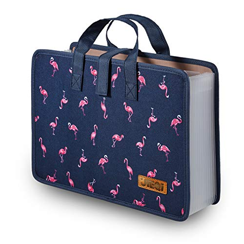 Expanding File Folder Document Organizer, 13 Pockets File Folders/Expandable Filing Folders with Handle A4 Size Accordion for Office/Business/School/Family Bill Paperwork (Blue-Flamingo)