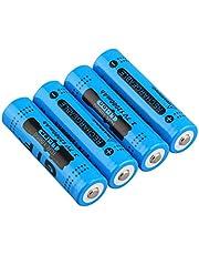 4個のGTL18650充電式リチウム電池、3.7V大容量12000mAh18650リチウムイオン電池(低自己放電、1800回使用可能)のとがった18650 電池トーチ懐中電灯用ポータブル交換バッテリートーチ (B)