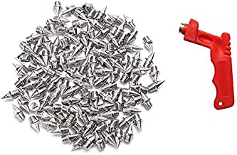 AUGSUN 110pcs 1/4inch Stainless Steel Track and Cross Country Spikes with Spike Wrench, Replacement Spikes for Sprint Sports Short Running Shoes