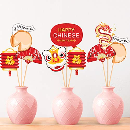 24 Pcs Chinese New Year Table Decoration 2021 Year of The Ox Table Centerpieces Sticks Wooden, New Years Cutouts Sign Happiness Spring Festival New Year Sign for Photo Booth Props Wall Decorations