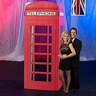 7 ft. 3 in. 3D London Telephone Booth Standee Standup Photo Booth Prop Background Backdrop Party Decoration Decor Scene Setter Cardboard Cutout