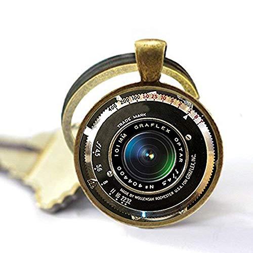 Llavero con colgante de cámara antigua, llavero con lente de cámara de color gris, negro y blanco, llavero para fotógrafo