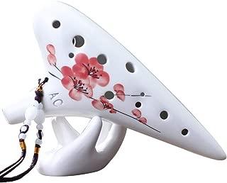 High Quality Ocarinas Ocarina 12 Hoyos AC Profesional Ocarina Alto C Tono 12 Hoyos Flauta de cerámica Instrumento Profesional para Principiantes Ciruela roja