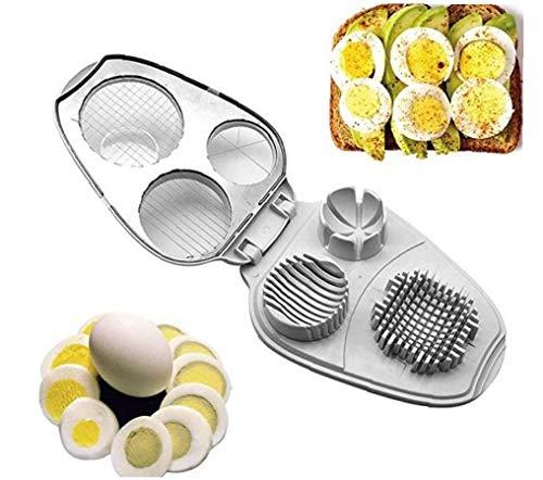 Nicedier Huevo máquina de Cortar 3 en 1 de Acero Inoxidable máquinas de Cortar manuales para Herramientas de Cocina Duro Boiglowing Huevos Blanco Herramienta de Cocina