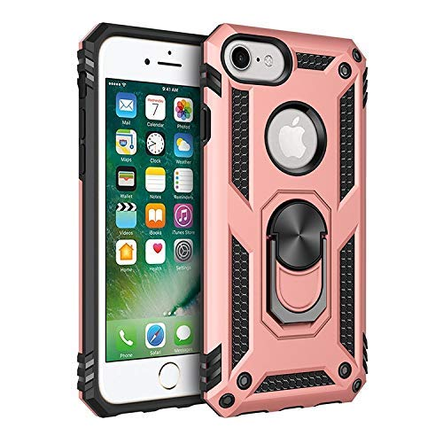 Rugged Flexible Protection case New Dual Layer Hybrid Shockproof Protection Case with 360 Degree Metal Rotating Finger Ring Holder Design for iPhone 6S/6/7/8 (Color : Rose Gold)