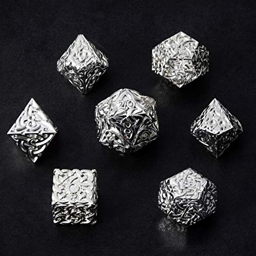 Shiny Silver Endless Light Dice 7 piece Polyhedral Metal Dice Set Celtic Knots Extra Heavy & Large for DnD Dungeons and Dragons Call of Cthulhu Pathfinder RPG Dice Paladin Dice Druid Cleric Dice