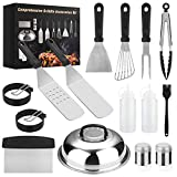 Yekale Griddle Accessories Kit, 15 PCS Griddle Grill Tools Set for Blackstone and Camp Chef, Professional Grill BBQ Spatula Set with Basting Cover, Spatula, Scraper, Bottle, Tongs, Egg Ring