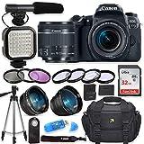 Canon EOS 77D Digital SLR Camera with Canon EF-S 18-55mm f/4-5.6 is STM Lens + Video LED Light + Shotgun Microphone + Sandisk 32GB SDHC Memory Card, Camera Bag (Complete Video Bundle) (Renewed)