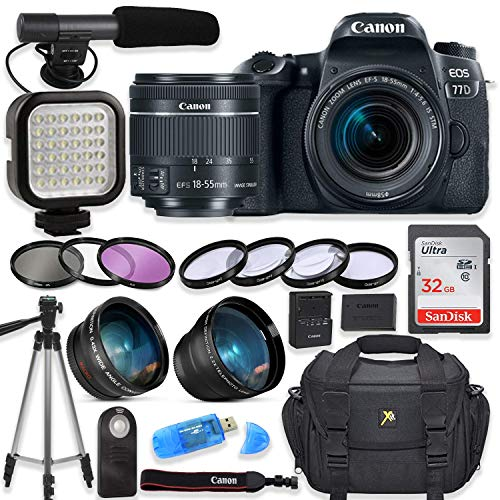 Canon EOS 77D Digital SLR Camera with Canon EF-S 18-55mm f/4-5.6 is STM Lens + Video LED Light + Shotgun Microphone + Sandisk 32GB SDHC Memory Card, Camera Bag (Complete Video Bundle) (Renewed)