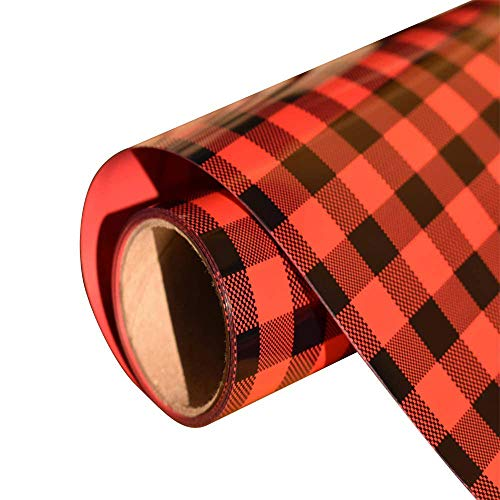 Christmas Buffalo Plaid Heat Transfer Vinyl Red Black Check Vinyl Sheets Adhesive Iron on Vinyl Patches for T Shirts 10 inches by 5 Feet