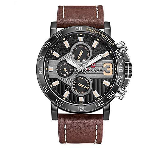 Luxusuhren Herren Sportuhren Braun Lederarmband Quarzuhr Business Casual Armbanduhr für Herren, Schwarzbraun