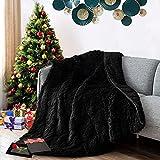 GOKISNE Throw Blanket , Shaggy Fluffy Faux Fur Nursery Blankets Warm Cozy Soft Plush Microfiber, Machine Washable Thicken Blankets for Bed Couch Sofa 50' x 60', Black
