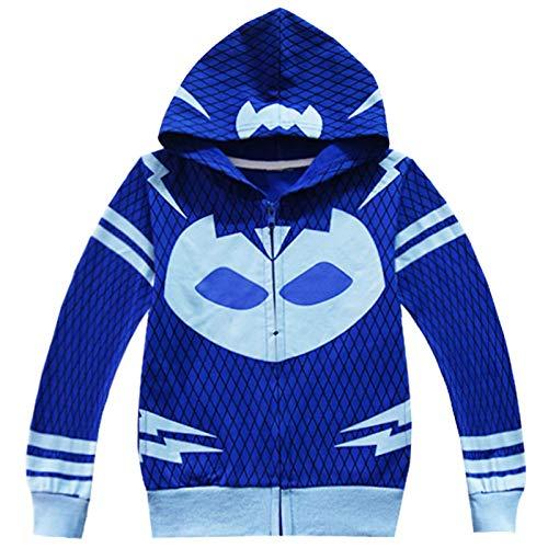 Mama stadt Disfraz de Gatuno Niños Azul Chaquetas con Capucha Cosplay Super Heroe Halloween Carnival Jacket/110