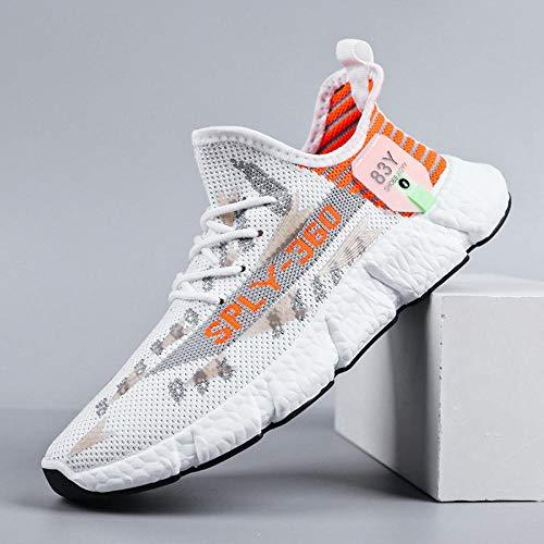 Aerlan Trail Running,Calzado Deportivo Hombre Mujer,Zapatos para Hombre, Zapatos Deportivos Tejidos voladores, Zapatos Casuales, Zapatos para Correr-Blanco / Naranja_42#