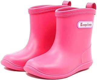 Kids Toddler Rubber Rain Shoes Soft Durable PVC Rain Boot Waterproof Non-Slip Rain Boots Wellies Wellington for Children Boys & Girls(6/7/8/9.5/11/12M US Size)
