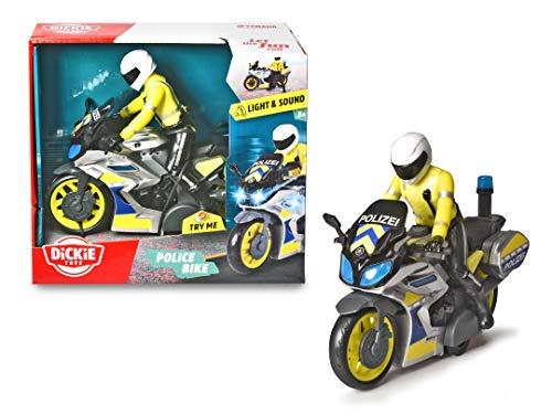 Dickie Toys 203712018 Polizeimotorrad, Polizei, Yamaha Motorrad, Friktion, Licht, Sound, Polizist, bewegliche Fahrerfigur, 17 cm, blau/gelb/Silber