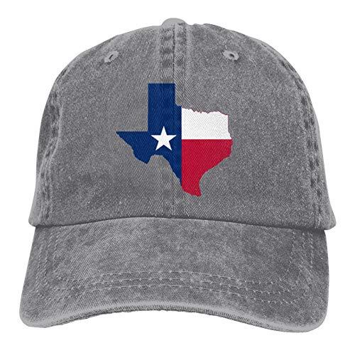 Ideas Esposas Bandera de Texas Gorras de béisbol Ajustables de Estilo clásico Personalizado para Hombres y Mujeres, Sombreros de Vaquero de Camionero de Hip Hop, Gris