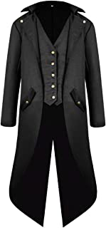 Zhhlaixing Mens Vintage Tailcoat Jacket Coat Tuxedo Suit Jackets Overcoat Gothic Victorian Cosplay Party Halloween Uniform Costume
