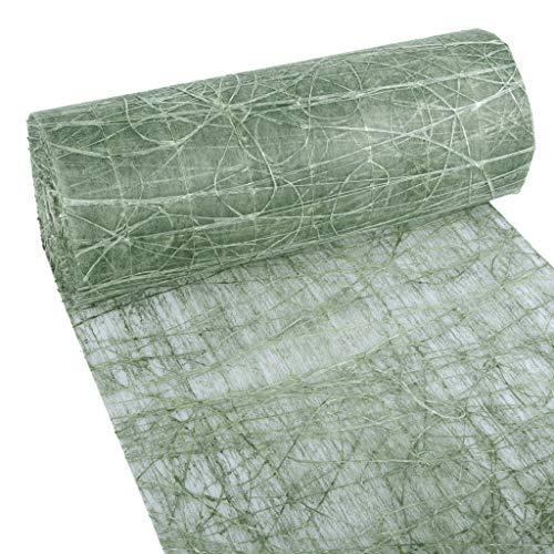 Dekoweb Runner – Runner da tavolo – verde muschio – 30 cm di larghezza – 15 m di lunghezza + 100 cuori decorativi speculari gratis – 54-300-15-029