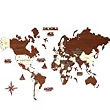 3D Wooden World Map, Wood Wall Map, Housewarming Gift, Anniversary Gift World Map, Wall Art Decor, Wooden Travel Map, Birthday Gift (L Standard - 59x35 inches)