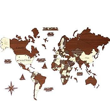 3D Wooden World Map Wood Wall Map Housewarming Gift Anniversary Gift World Map Wall Art Decor Wooden Travel Map Birthday Gift  M Standard - 39x24 inches