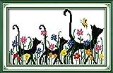 TSUKINOLL Kit de Punto de Cruz de conteo Kit de Manualidades de Bordado de Gato Negro y Flor Kit de Inicio de Bordado de Serie Completa 11CT Tela de Costura para Adultos Niños Principiante 4