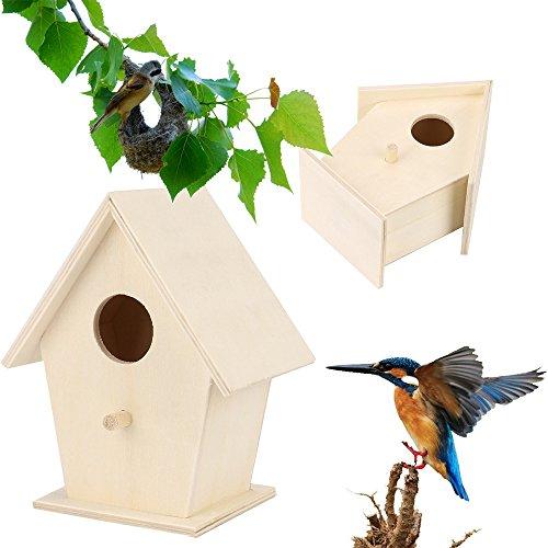 About1988 Vogelhaus-Vogelhäuser Vogelfutterhaus Vogelhäuschen aus Holz Vogelhausständer, Kunstvolle Vogel-Hause mit moderner Form ist aus Holz gemacht geeignet für Kleinsingvögel (A)