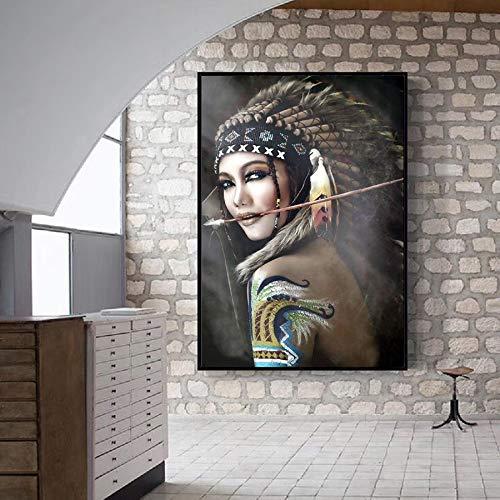 Mubaolei Cuadro en Lienzo con Plumas de Mujer India, decoración del hogar, Retrato, Cuadros artísticos en Lienzo para Sala de Estar 60x80cm