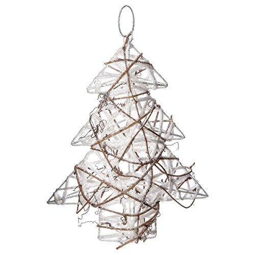 Féérie Lights & Christmas Sapin de Noël pailleté à Suspendre - 17 x 20 cm - Blanc