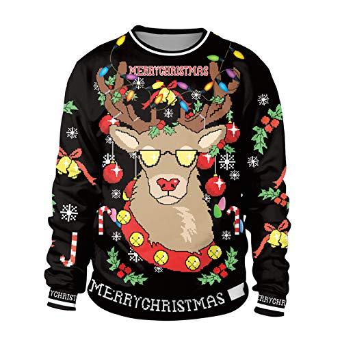LaiYuTing 2020 Christmas Reindeer Sudadera con Cuello Redondo Y Estampado Digital