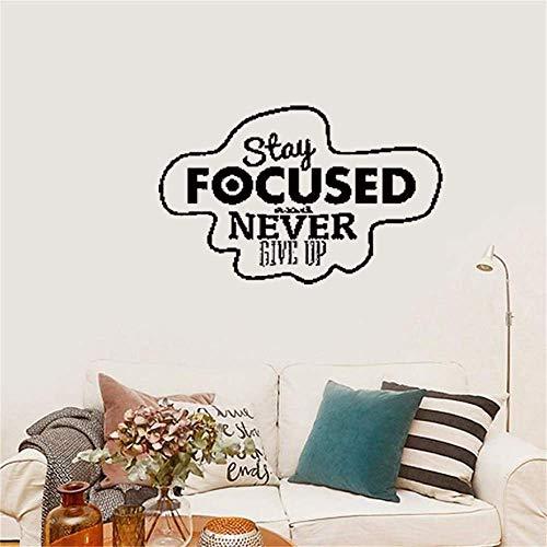 stickers muraux chambre adulte citation Restez concentré et n'abandonnez jamais