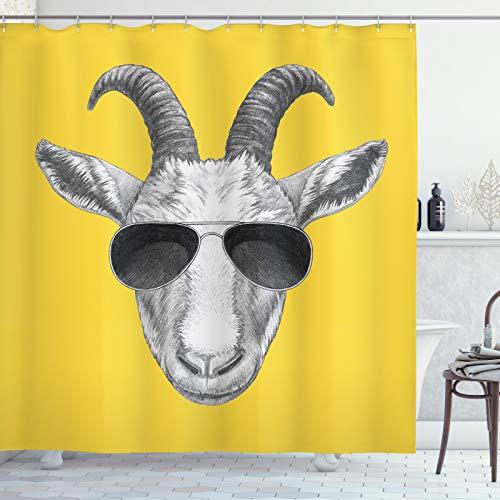 ABAKUHAUS Gafas de Sol Cortina de Baño, Gris Dibujado Mano de Cabra, Material Resistente al Agua Durable Estampa Digital, 175 x 240 cm, Mostaza Gris Oscuro