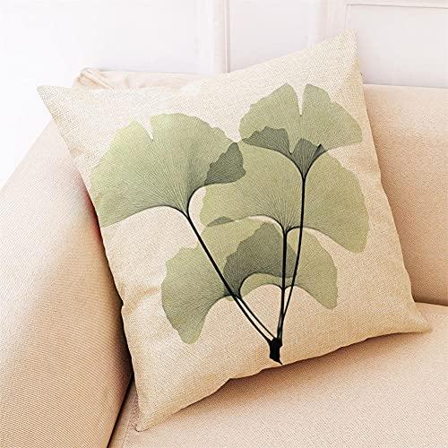 YINGZG Funda de Cojine 55x55cm 22x22 Inch Flor Verde Claro Cuadrado Cushion Cover Decoración Algodón Lino Lanzar Funda de Almohada Caso de la Cubierta Cojines para Sofá Decorativo Z2533