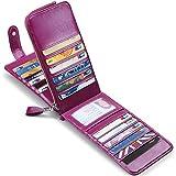 JEEBURYEE カードケース メンズ レディース 長財布 本革 薄型 カード入れ 小銭入れ 磁気防止 大容量 カード26枚収納 男女兼用 オイルレザー パープル