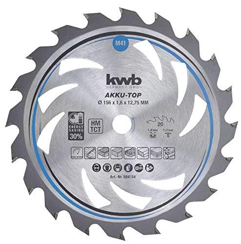 kwb 584154 AKKU-TOP Energy-Saving cirkelzaagblad Easy Cut, Ø 156 x 12,75 mm dunne snede met speciale wisseltand 20 tanden Z20