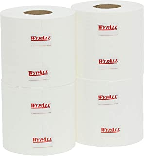 WYPALL 94125 WypAll L10 Centrefeed Roll Wipers, White, 790 Wipers/Roll, Case of 4 Rolls, 5.495 kilograms, Pack of 4