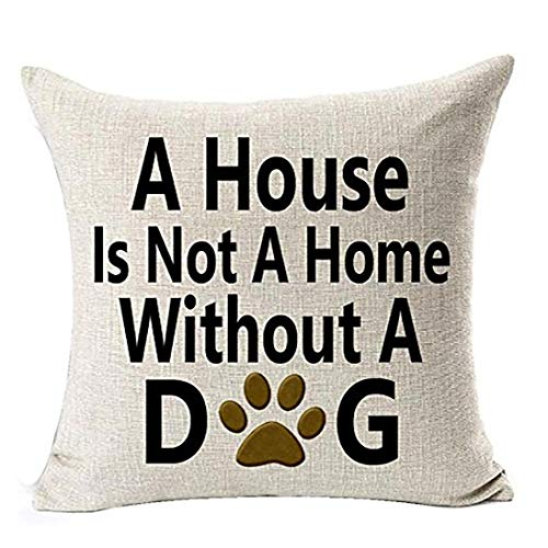 Throw Pillow Covers, E-Scenery Clearance Sale! Best Dog Lover Square Decorative Throw Pillow Cases Cushion Cover for Sofa Bedroom Car Home Decor, 18 x 18 Inch (A House is Not A Home Without A Dog)
