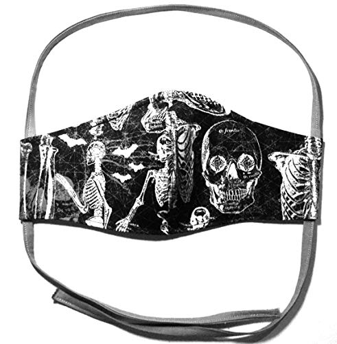 Black Anatomy Skeleton XL Face Mask, White bat skull glow in the dark, washable 3 layer 100% cotton cloth, nose wire filter pocket, around Head elastic fabric tie, adult man woman XXL extra coverage