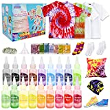 Meland Tie Dye Kit - 18 Colors DIY Tie Dye Set with 3 White T-Shirts, All-in-1 Fabric Tie Dye Craft Set for Kids & Adults, Tye Dye for Party Group Activity, Birthday Christmas Gifts for Girls Boys