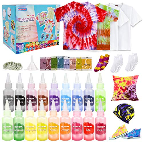tye dye shirt kits Meland Tie Dye Kit - 18 Colors DIY Tie Dye Set with 3 White T-Shirts, All-in-1 Fabric Tie Dye Craft Set for Kids & Adults, Tye Dye for Party Group Activity, Birthday Christmas Gifts for Girls Boys
