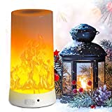 LED Flame Effect Light, PDGROW USB Rechargeable Fire Flame Effect Night Light, Desk/Table Light Lamp Waterproof with Magnetic Base & Hanging Hook for Christmas, Party, Indoor/Outdoor Use
