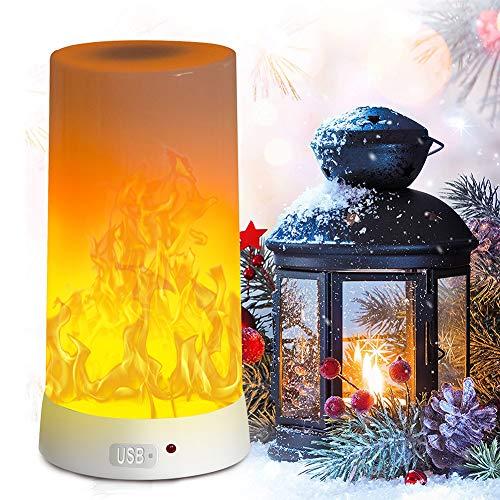 Lámpara LED de Llama, PDGROW USB Recargable Luz Nocturna, Escritorio/Lámpara de Mesa, Resistente al Agua con Base Magnética y Gancho de Metal para Navidad, Fiestas, Interior/Exterior
