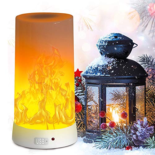 LED Flame Effect Light, PDGROW USB Rechargeable Fire Flame Effect Night...